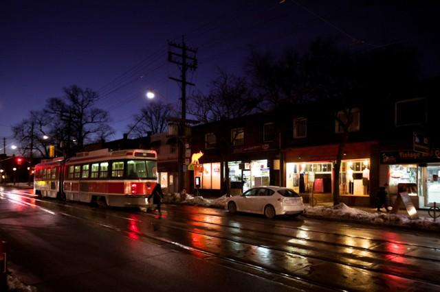 Leslieville on a winter night
