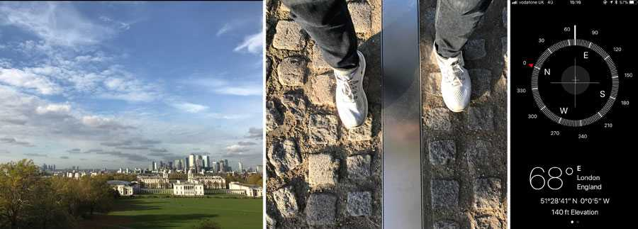 "The view of London from the observatory; me straddling the two hemispheres; the discrepancy between the Prime Meridian and GPS (one would assume it should display as 0°0""0' W)"