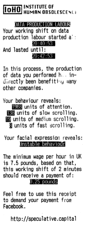 Receipt from Manuel Beltrán's Data Production Labour