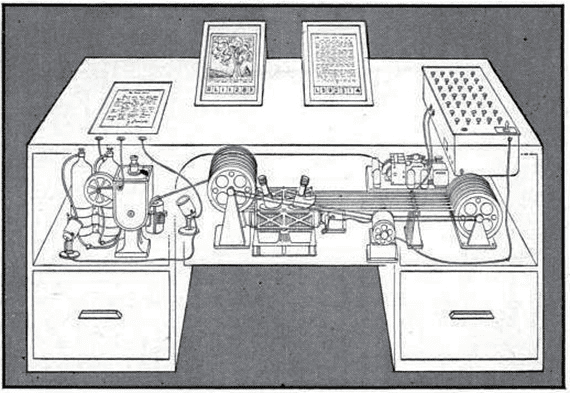 An illustration of the Memex from 1945